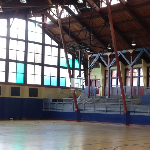 Gymnasium with wall of windows
