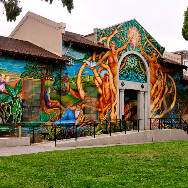 Colorful Mission Pool building exterior
