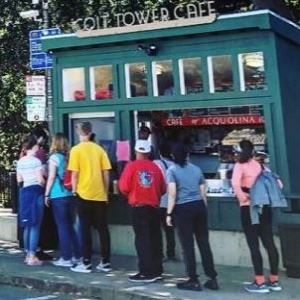 People lined up at the Coit Tower Cafe