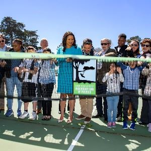 City staff and kids at GGP Tennis Center Groundbreaking