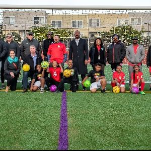 City staff with kids' team at Silver Terrace Play Fields
