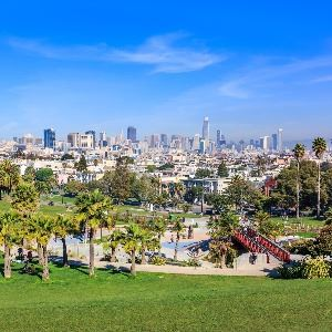 Mission Dolores Park with city in the background