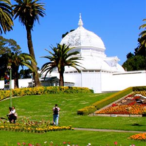 People enjoying the gardens at the Conservatory of Flowers