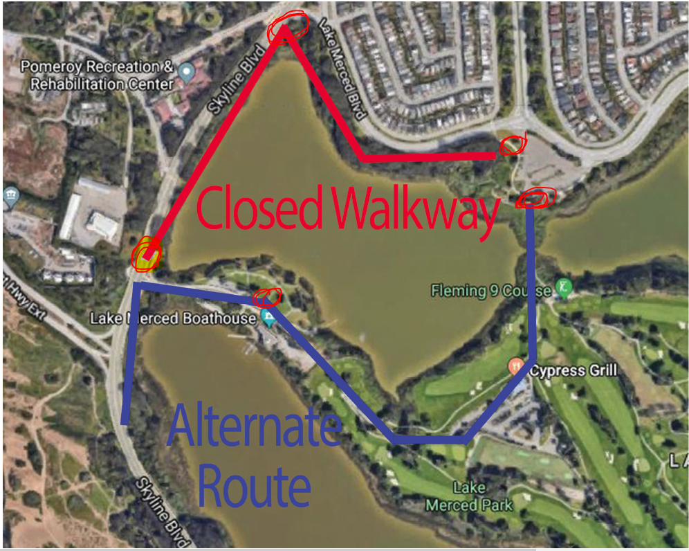 Lake Merced walkway constr feb 2020