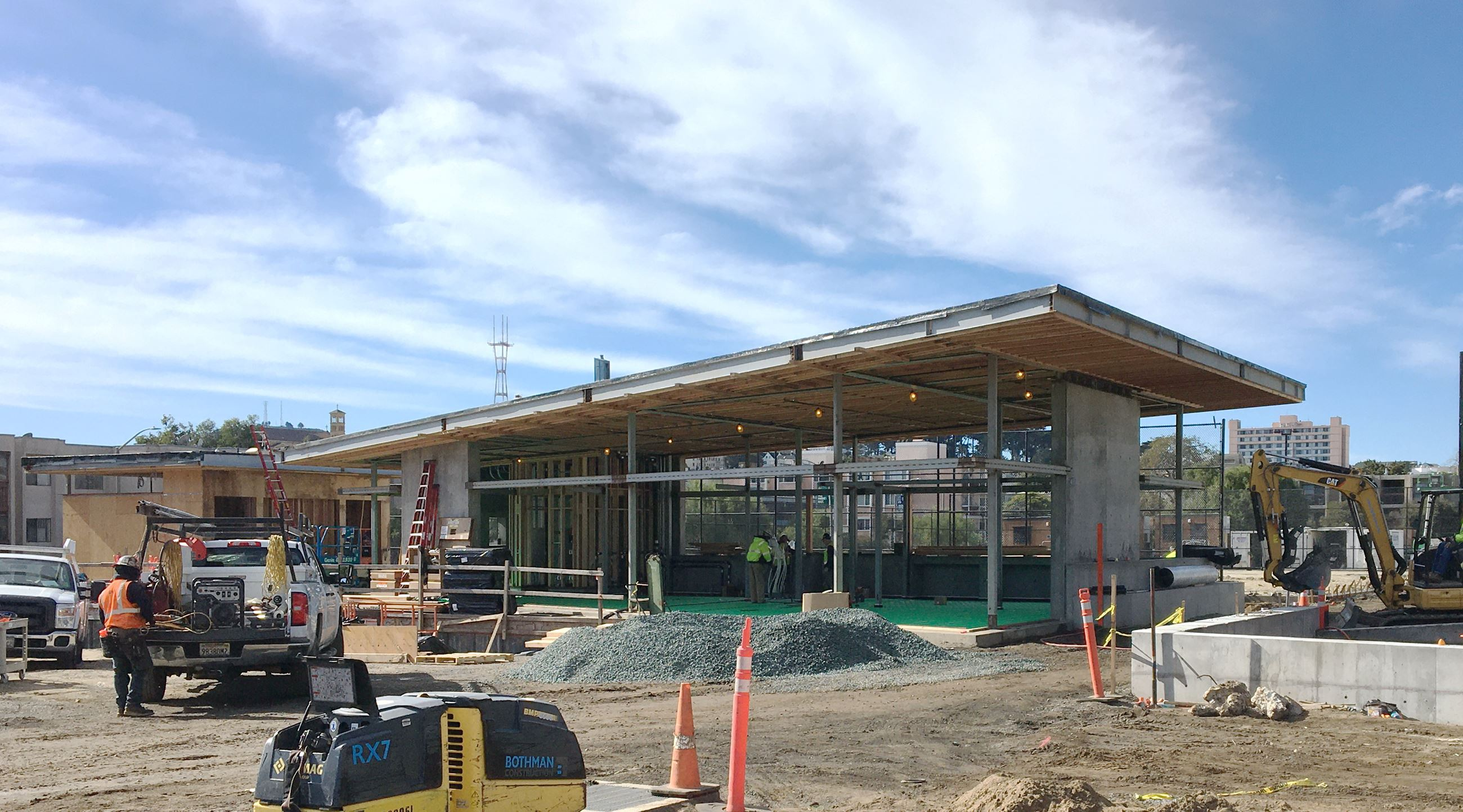 This is a photo of the nearly completed new clubhouse at Margaret Hayward Playground
