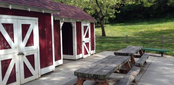 Picnic tables and red barn