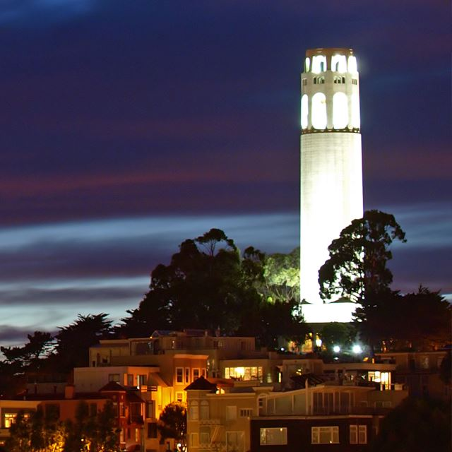 Coit Tower illuminated at night