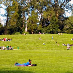 People lounging in Robin Williams Meadow