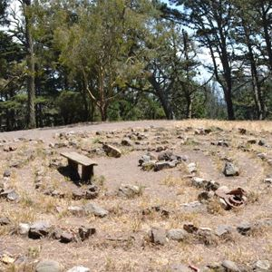 Labyrinth rock formation and bench