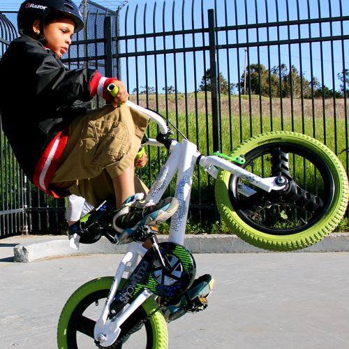 Young boy popping a wheelie on a bike